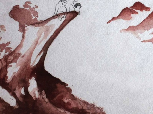 three slightly human figures, drawn in ink, on the edge of a cliff, part of a background done in watercolor
