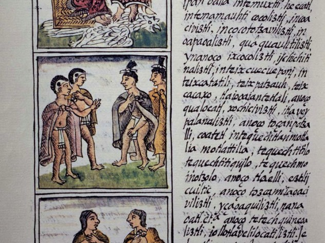 Page showing Aztec gentry from book four of the sixteenth-century Florentine Codex, a history of the Aztec people in the Nahuatl language that was compiled by the Spanish Franciscan Bernardino de Sahagún with extensive help from Aztec informants and artisans
