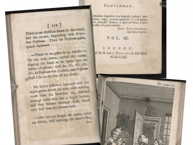 Pages from the first editions of various volumes of Laurence Sterne's novel The Life and Opinions of Tristram Shandy, Gentleman, dating from 1759 to 176