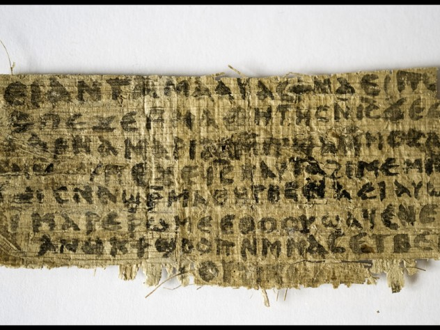 The front of a papyrus fragment from an early Christian codex on which is written a previously unknown gospel, the Gospel of Jesus's Wife.