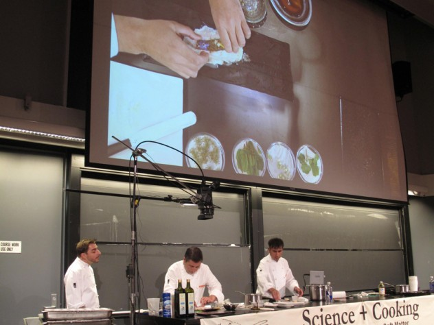 Chef Joan Roca demonstrates the sous vide technique on a piece of Dover sole.