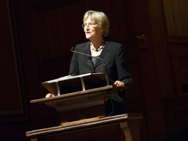 Harvard president Drew Faust marks the start of the academic year with an address in Sanders Theatre.