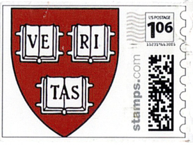 The formal invitations, sent by mail, were jazzed up with custom Harvard shield postage stamps.