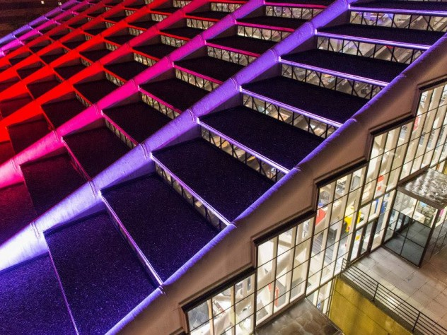 Gund Hall, the heart of the GSD campus, lighted up to celebrate the weekend's launch events.