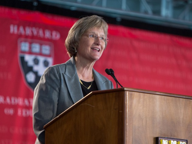 """President Drew Faust lauded the HGSE community for its """"grit"""" and spirit of exploration."""