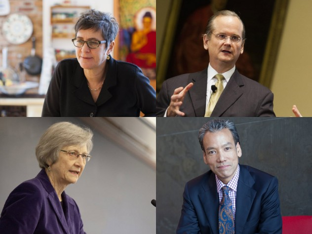 HILT conference participants: (top row) Melissa Franklin and Lawrence Lessig; (bottom row) Laurel Thatcher Ulrich and Robert Lue