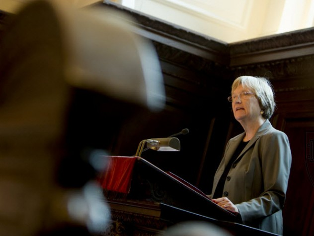 President Drew Faust speaks at morning prayers in Appleton Chapel on the first day of classes.