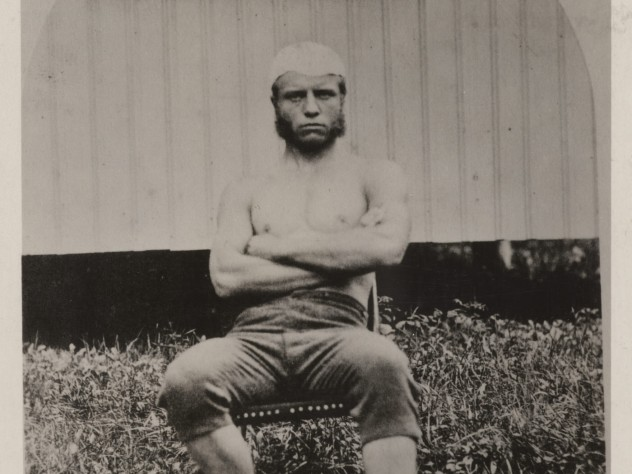 T.R. in a sculling outfit, circa 1877, during his sophomore or junior year