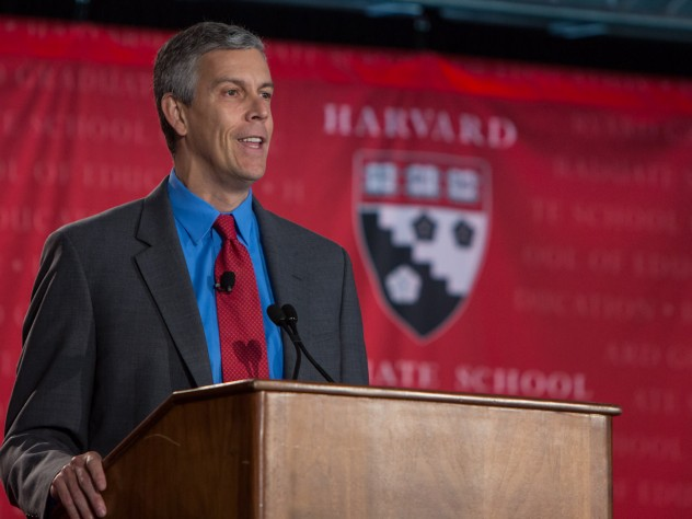 U.S. Secretary of Education Arne Duncan '86 led off the day with a short address, followed by a dialogue with McCartney professor in education leadership Monica Higgins.