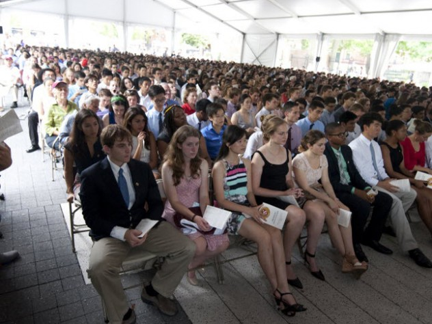 Warm but weatherproof, the massive tent on the Science Center Plaza sheltered the first-years and their guests from a scorching sun and the threat of rain.