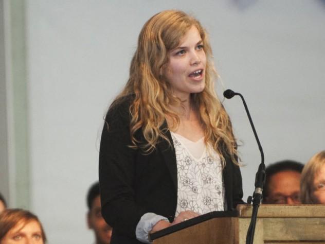 Eva Guidarini '15 delivers the Student Salutation.