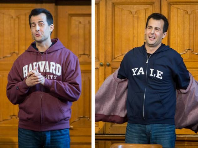 Photo of David Malan taking off his Harvard sweatshirt to reveal a Yale one