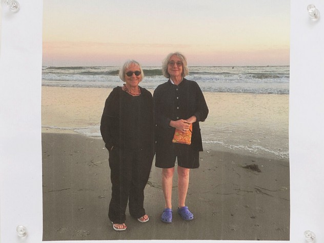 Marilyn Pappas and Jill Slosburg-Ackerman on the beach as older women.