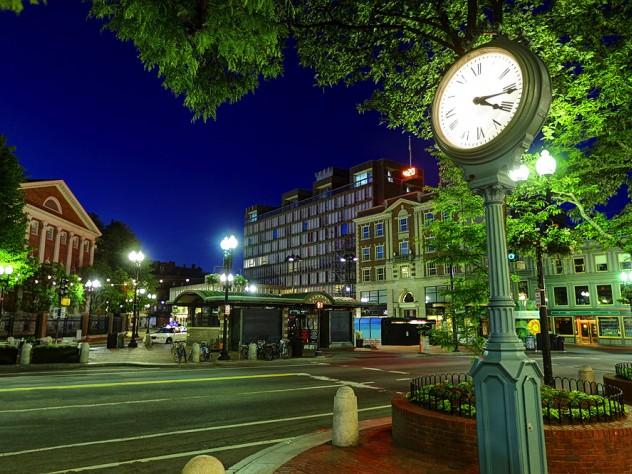 Harvard Square at night