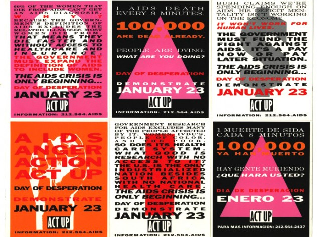 A sheet of stickers from the ACT UP Day of Desperation, January 23, 1991