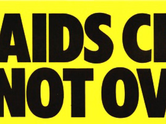 Little Elvis, <i>The Aids Crisis is Not Over</i> sticker, 1988