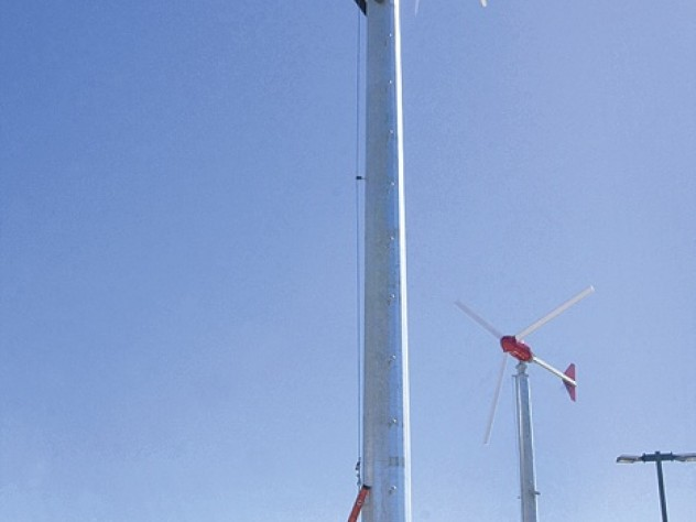 Two 10-kilowatt wind turbines generate renewable power atop the Soldiers Field parking garage.