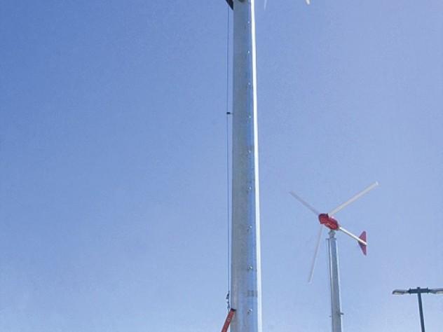 Two 10-kilowatt wind turbines generate renewable power atop the Soldiers Field parking garage.