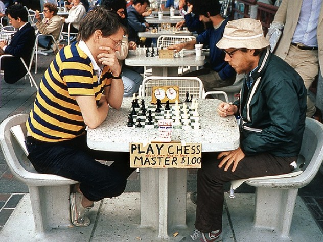 Cruising the Square: Chess master Murray Turnbull '71 takes on an opponent at 1983 rates