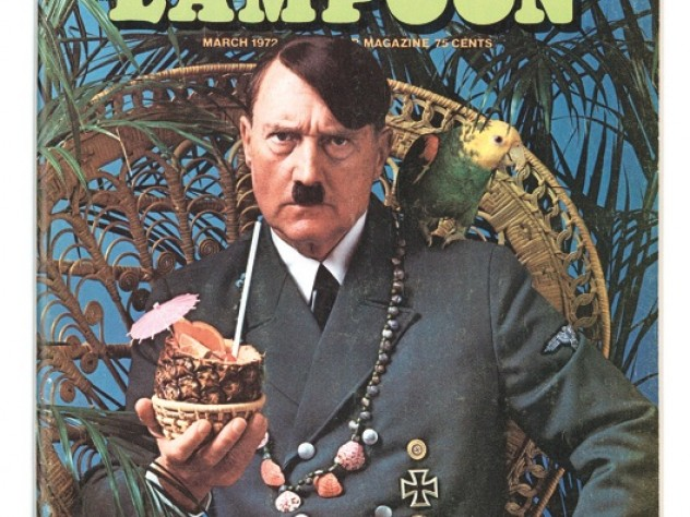 """The 1972 """"Escape!"""" issue placed Adolf Hitler on a tropical island—with parrot, beads, and a paper-parasol-garnished rum drink."""