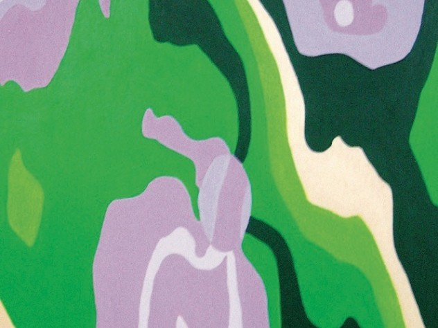 detail of a painting on scrap wood by Somerville artist Tova Speter, whose work is on display at the Arnold Arboretum