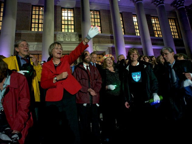 President Faust greets the Houses and graduate schools as they parade past Widener. To her right is Robert Reischauer, senior fellow of the Harvard Corporation. To her left are University provost Alan Garber; Leila Fawaz, president of the Board of Overseers; School of Engineering and Applied Sciences dean Cherry Murray; and School of Public Health dean Julio Frenk.
