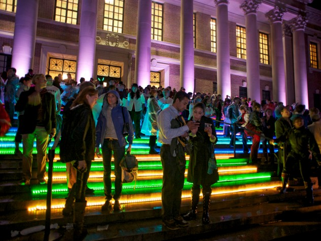 LED lights lined the steps of Widener Library, and the columns were individually illuminated.