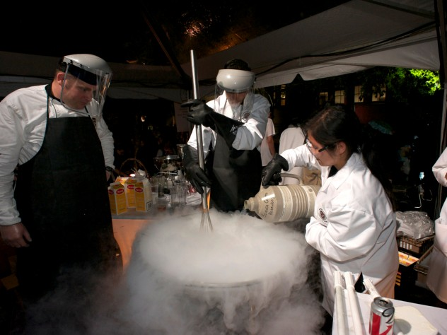 "Students from the course Science of the Physical Universe 27: ""Science and Cooking: From Haute Cuisine to Soft Matter Science"" demonstrate making ice cream with liquid nitrogen, which brings the dessert to extremely cold temperatures and allows for using ingredients that would not otherwise freeze, such as alcohol. Throughout the evening, undergraduates were the centerpiece of the celebration."