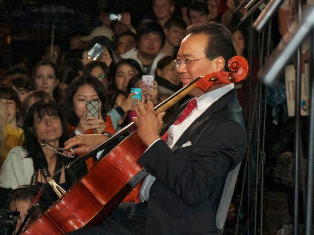 Yo-Yo Ma '76 played part of Bach's first cello suite.