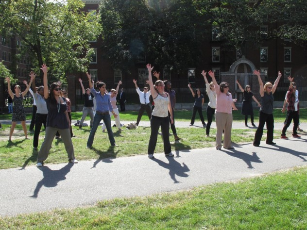 "Dancers rehearse for performance as part of a ""flash mob"" in the University's 375th anniversary celebration on October 14."