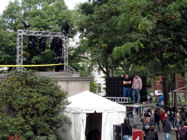 Light stands and LED rigging at Widener's parapet