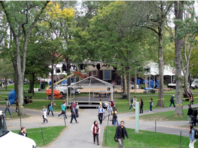 Preparations were under way Wednesday for Friday's celebration in Harvard Yard. Here, the view from Widener toward Memorial Church: the stand for Joanne Chang's Harvard birthday cake, the platform where Yo-Yo Ma will perform, and the dance stage and band tent immediately in front of the church.