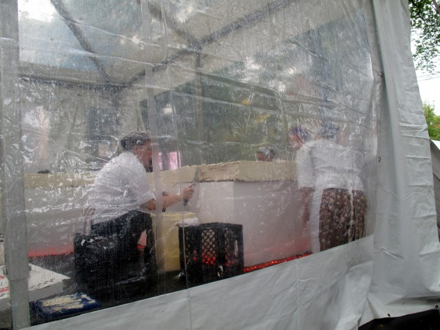 Under the tent: tight quarters for working