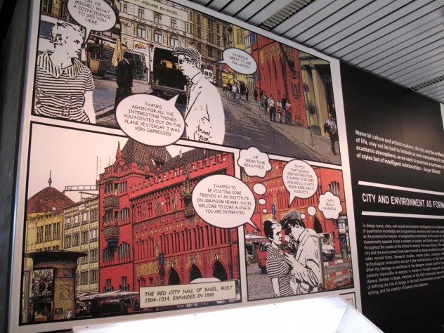 The exhibit was broken up into six thematic categories. This display is part of City as Form.