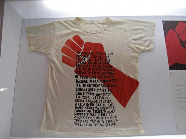 "After the ""Bust,"" GSD students returned to Robinson Hall to teach themselves the new craft of silk-screening overnight, and created T-shirts emblazoned with the symbol for protestors—with the caveat that they would never be used as souvenirs."
