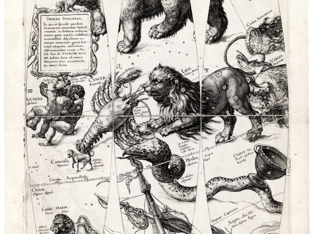 Jan Saenredam used copperplate engraving before 1600 to create these celestial globe gores, which echo and update Dürer.