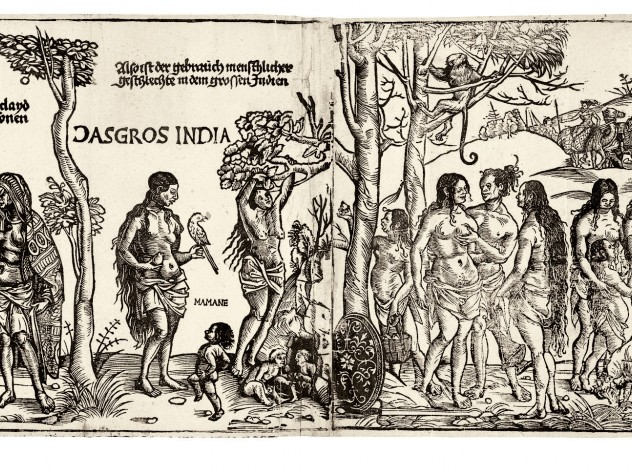 "Georg Glockendon's 1511 <i>Peoples of Africa and India</i> copies Hans Burgkmair's 1508 woodcut documenting the voyage of a Tyrolean merchant along the coasts of these two newly explored continents. Burgkmair's innovative approach to ""mapping"" the route the expedition followed has been called the beginning of ethnography."