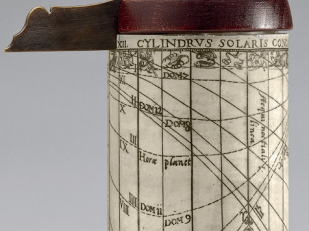 A cylindrical sundial constructed according to the 1615 pamphlet by Georg Brentel the Younger, described in the previous caption.