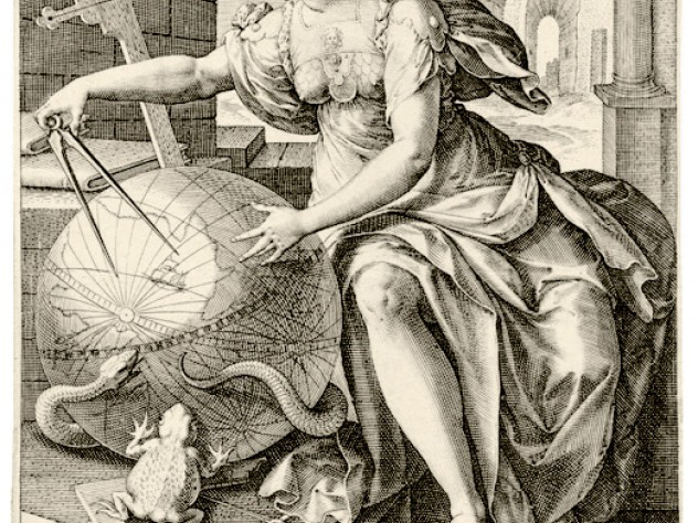 In <i>Geometry</i> (after 1575), from the series <i>The Seven Liberal Arts,</i> Jan Sadeler I used an allegorical figure to depict the use of geometry in fields such as navigation and architecture (represented by the crown of towers).