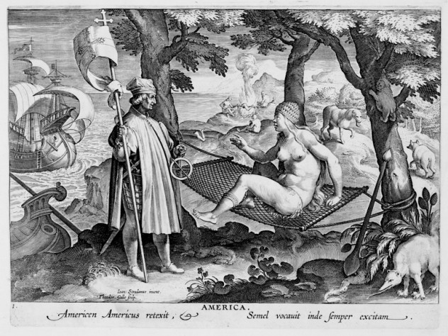 Theodore Galle, after Stradanus (Jan van der Straet), <i>Discovery of America,</i> from <i>Nova reperta</i> (New inventions and discoveries of modern times), c. 1599–1603. Engraving