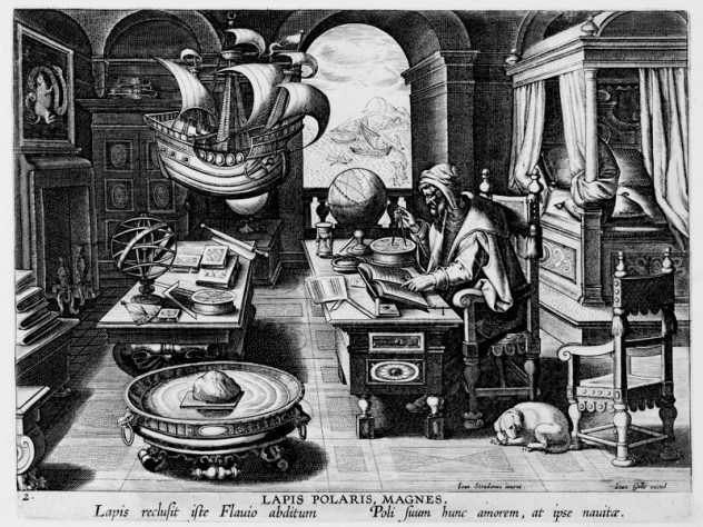 Hans Collaert the Younger, after Stradanus (Jan van der Straet), <i>Invention of the Compass,</i> from <i>Nova reperta</i> (New inventions and discoveries of modern times), c. 1599–1603. Engraving.