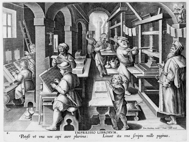 Unknown engraver, after Stradanus (Jan van der Straet), <i>Invention of Book Printing,</i> from <i>Nova reperta</i> (New inventions and discoveries of modern times), c. 1599–1603. Engraving.