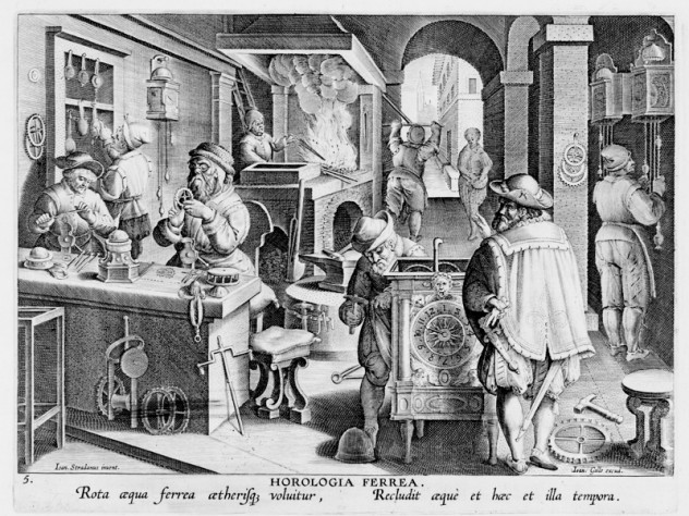 Unknown engraver, after Stradanus (Jan van der Straet), <i>Invention of Clockwork,</i> from <i>Nova reperta</i> (New inventions and discoveries of modern times), c. 1599–1603. Engraving.