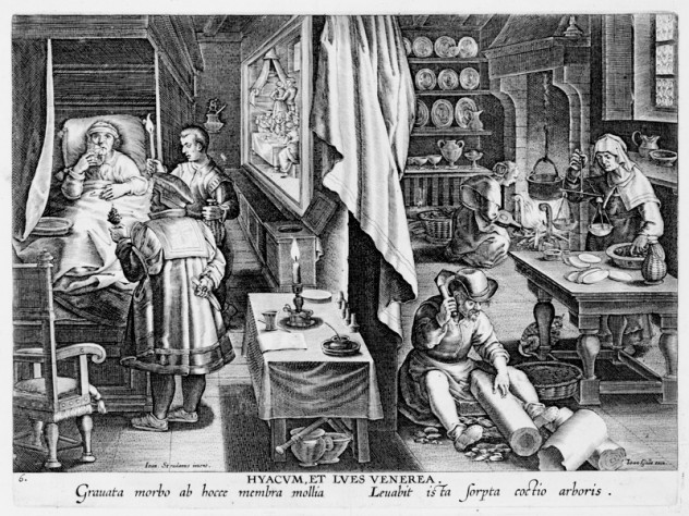 Unknown engraver, after Stradanus (Jan van der Straet), <i>Discovery of Guaiacum as a Cure for Venereal Infection,</i> from <i>Nova reperta</i> (New inventions and discoveries of modern times), c. 1599–1603. Engraving