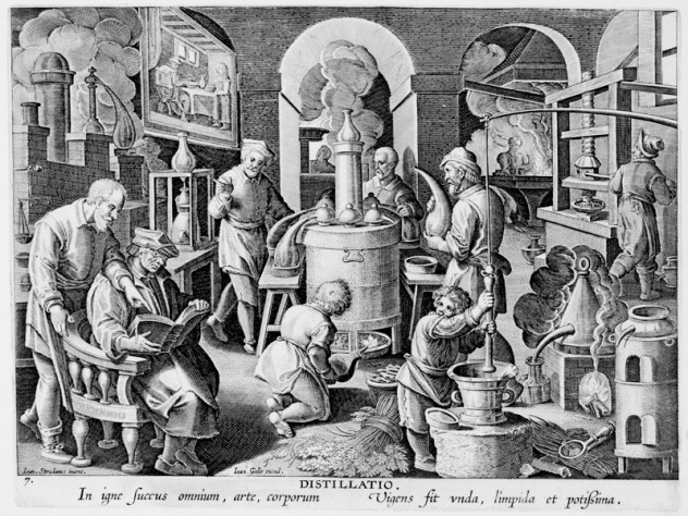 Unknown engraver, after Stradanus (Jan van der Straet), <i>Invention of Distillation,</i> from <i>Nova reperta</i> (New inventions and discoveries of modern times), c. 1599–1603. Engraving.