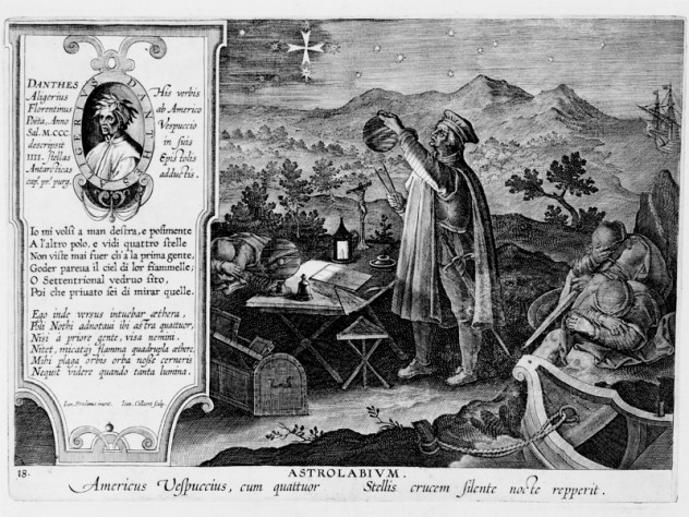 Hans Collaert the Younger, after Stradanus (Jan van der Straet), <i>Amerigo Vespucci Discovering the Southern Cross with an Astrolabe,</i> from <i>Nova reperta</i> (New inventions and discoveries of modern times), c. 1599–1603. Engraving.