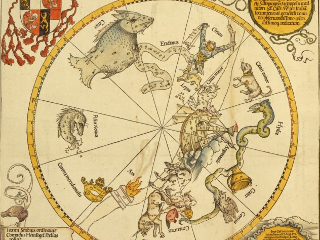 Albrecht Dürer and Johannes Stabius, after Conrad Heinfogel, <i>Map of the Southern Celestial Hemisphere, </i>1515. Woodcut with hand-coloring.