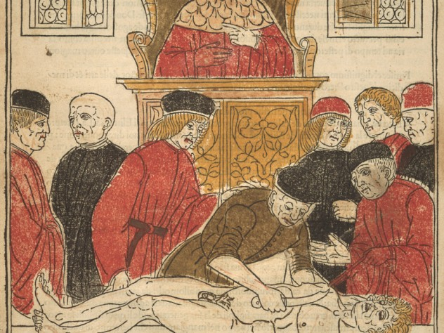 Unknown artist, <i>The Anatomy Lesson,</i> from <i>Fasciculo di medicina</i> (Pamphlet on medicine), Venice: Gregori Brothers, 1494, Woodcut with colors applied by hand-printed blocks and stencils.
