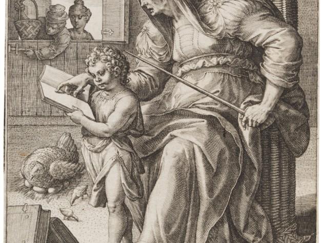 Jan Sadeler I, after Maarten de Vos,<i> Grammar,</i> from the series <i>The Seven Liberal Arts,</i> after 1575. Engraving