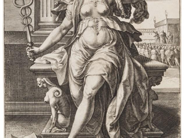 Jan Sadeler I, after Maarten de Vos,<i> Rhetoric,</i> from the series <i>The Seven Liberal Arts,</i> after 1575. Engraving